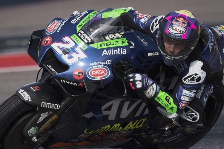Enea Bastianini saat berlaga pada MotoGP Amerika 2021.   Mirco Lazzari gp/Getty Images/AFP (Photo by Mirco Lazzari gp / GETTY IMAGES NORTH AMERICA / Getty Images via AFP)