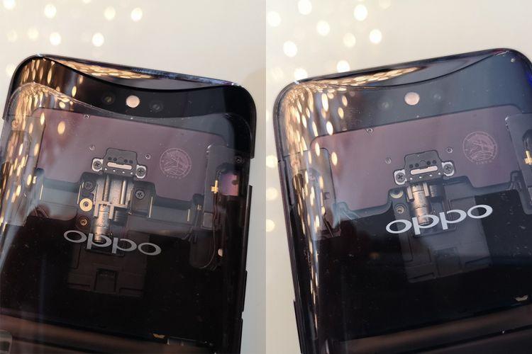 Kamera Oppo Find X dalam keadaan tertutup (kanan) dan terbuka. Punggung transparan pada unit demo ini memperlihatkan mekanisme kerjanya. Di bagian tengah ada micro motor yang berfungsi mendorong dan menarik modul kamera. Sementara di sisi kiri dan kanan ada rel pemandu.