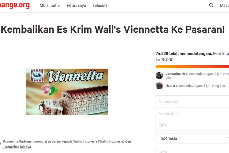 Tangkapan Layar Petisi Viennetta di Change.org
