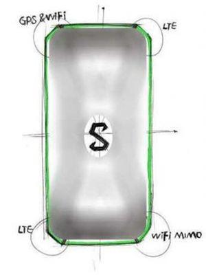 Bocoran sketsa yang memperlihatkan empat lokasi antena ponsel gaming Xiaomi Black Shark.