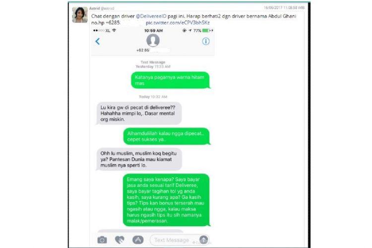 Screenshot komplain Astrid terhadap salah seorang pengemudi Deliveree Indonesia di Twitter