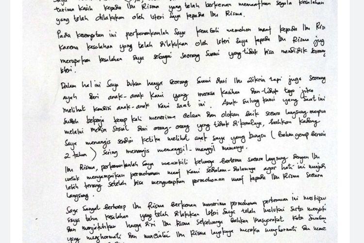 Isi surat yang ditukis suami Zikria Dzatil, Daru Asmara Jaya yang ditujukan kepada Wali Kota Surabaya Tri Rismaharini.