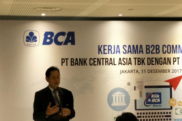 Presiden Direktur PT Bank Central Asia Tbk (BCA)Jahja Setiaatmadja di Menara BCA, Jakarta, Senin (11/12/2017).