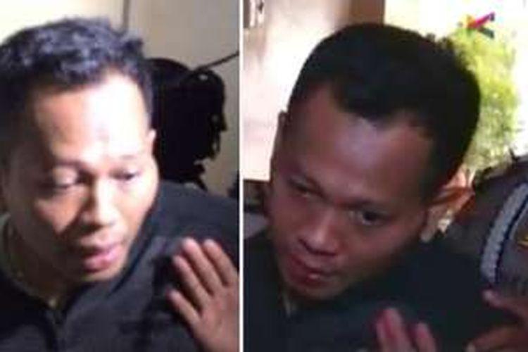 Salah seorang pelaku perampokan dan penyanderaan di sebuah rumah di Jalan Bukit Hijau 17, Pondok Indah, Jakarta Selatan, Sabtu (03/09/2016), saat dibawa ke Mapolda Metro Jaya.