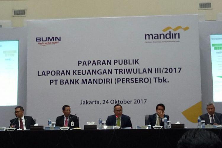 konferensi pers dan paparan publik Bank Mandiri di Jakarta, Selasa (24/10/2017).