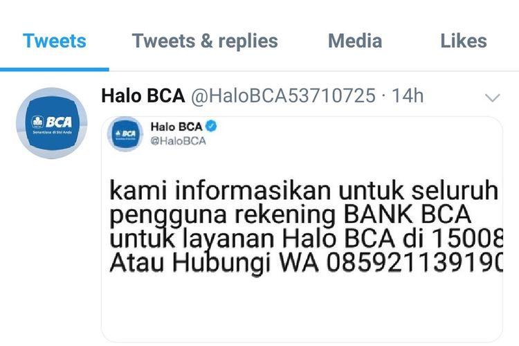 Akun palsu customer service Halo BCA di Twitter
