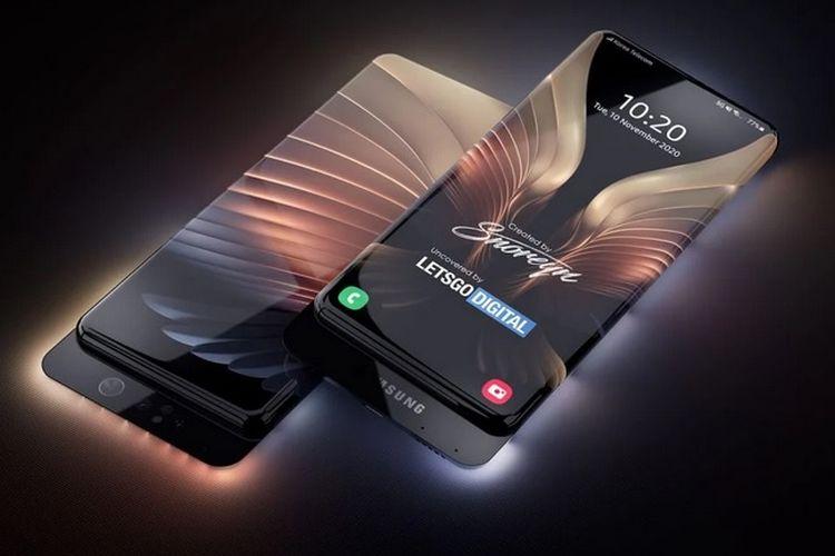 Samsung mematenkan desain ponsel dengan layar depan belakang alias bolak-balik.