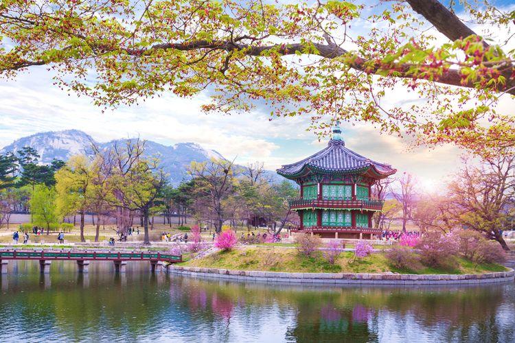 Ilustrasi musim semi di Seoul, Korea Selatan