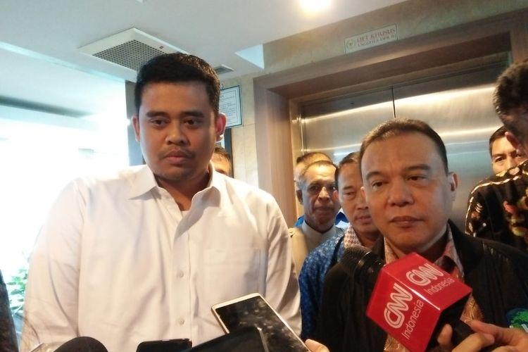 Menantu Presiden Joko Widodo sekaligus bakal Calon Wali Kota Medan Bobby Afif Nasution berkunjung ke ruangan Fraksi Partai Gerindra di DPR di Kompleks Parlemen, Senayan, Jakarta, Jumat (21/2/2020).