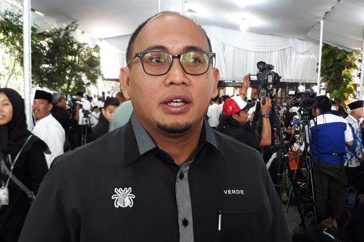 Juru Bicara Badan Pemenangan Nasional (BPN) Prabowo Subianto-Sandiaga Uno, Andre Rosiade di Puri Cikeas, Minggu (2/6/2019).