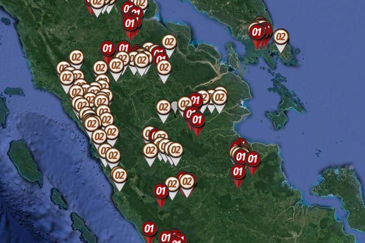 Peta sebaran hitung cepat atau quick count Pilpres 2019 yang dirilis oleh Litbang Kompas pada Rabu (17/4/2019) hingga pukul 21.00 WIB di Sumatera bagian tengah yang meliputi Sumatera Barat, Riau, Jambi, Kepulauan Riau dan Bengkulu.