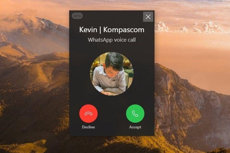 Jendela notifikasi panggilan masuk pada WhatsApp Web