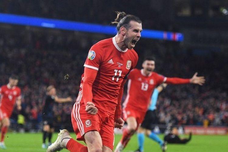 Gareth Bale saat merayakan gol ke gawang Kroasia pada Kualifikasi Euro 2020