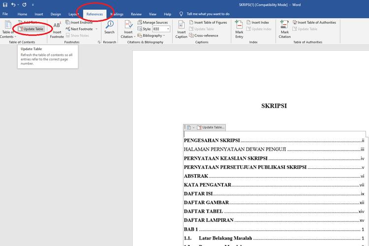 Cara memperbarui daftar isi di Microsoft Word berbasis Windows 10.