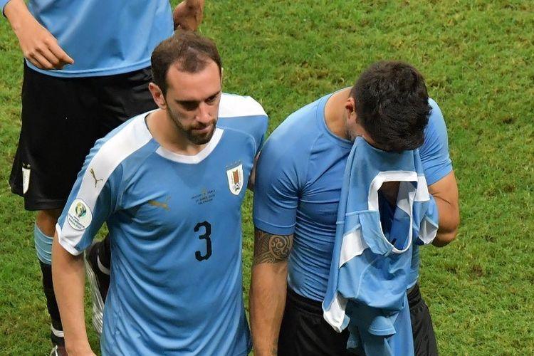 Luis Suarez tampak kecewa seusai tendangan penaltinya digagalkan Pedro Gallese pada pertandingan Uruguay vs Peru dalam babak perempat final Copa America 2019 di Fonte Nova Arenam 29 Juni 2019.