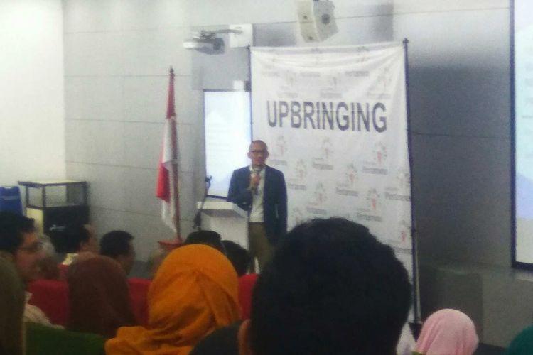 Wakil gubernur terpilih DKI Jakarta Sandiaga Uno mengisi seminar di Universitas Pertamina, Simprug, Jakarta Selatan, Selasa (6/6/2017).