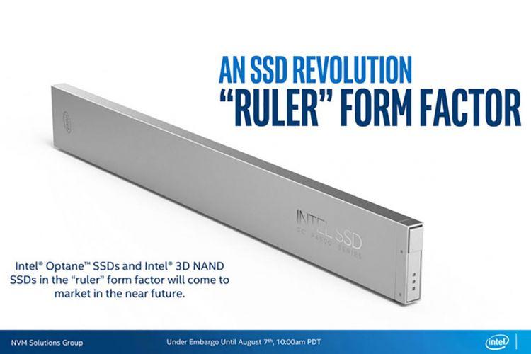 Perangkat SSD berbentuk mirip penggaris dari Intel.