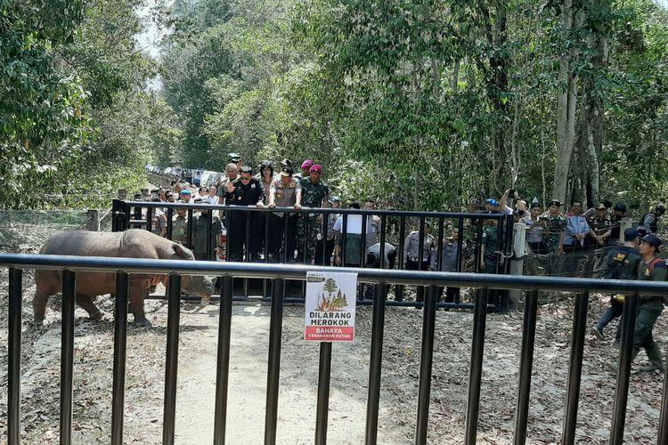 Peresmian Kandang Badak Sumatera SRS di TNWK Lampung Timur telah diresmikan.