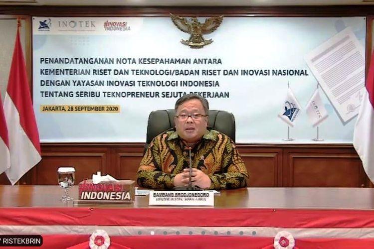 Menristek Bambang Brodjonegoro saat memberikan sambutan dalam MoU Kemenristek/BRIN dengan Yayasan Inovasi Teknologi Indonesia (Inotek) secara virtual, Senin (28/9/2020).