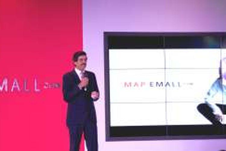 VP Sharma, Group CEO of MAP Group membuka peresmian MAP EMALL. eCommerce andalan yang ditujukan sebagai destinasi gaya hidup dan belanja daring di Indonesia dengan lebih dari 20.000 Unit Penyimpanan Stok (SKU) dari lebih dari 150 merek terkemuka global. Persemian dilakukan pada Kamis (18/2/2016).