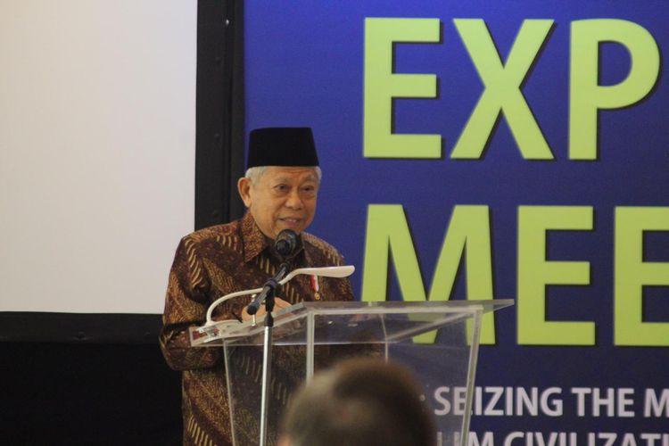 Wakil Presiden RI, KH. Maruf Amin dalam seminar bertema Seizing The Moment For Inventing Muslim Civilization yang digelar guna membahas konsep ideal Universitas Islam Internasional Indonesia (UIII) yang tengah dibangun di Depok, Jawa Barat (26/11/2019).