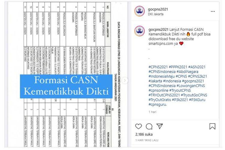Tangkapan layar unggahan Instagram soal formasi CPNS Kemendikbud Ristek