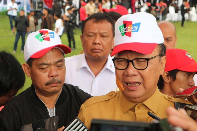 Menteri Dalam Negeri Tjahjo Kumolo saat hadir dalam acara Jambore Kebangsaan dan Wirausaha di Bumi Perkemahan Mandalawangi, Cibodas, Cianjur, Jawa Barat, Rabu (25/10/2017).