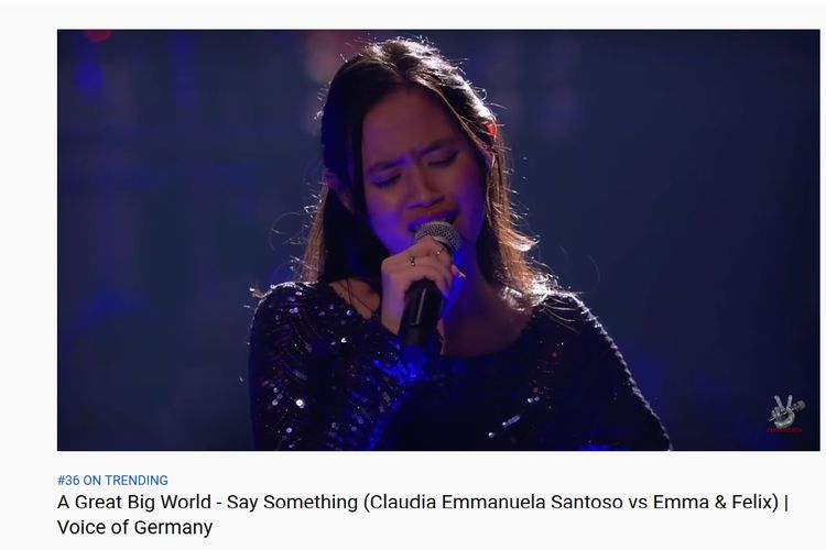 Mahasiswi asal Cirebon Claudia Emmanuela Santoso tampil di babak Battle The Voice of Germany.