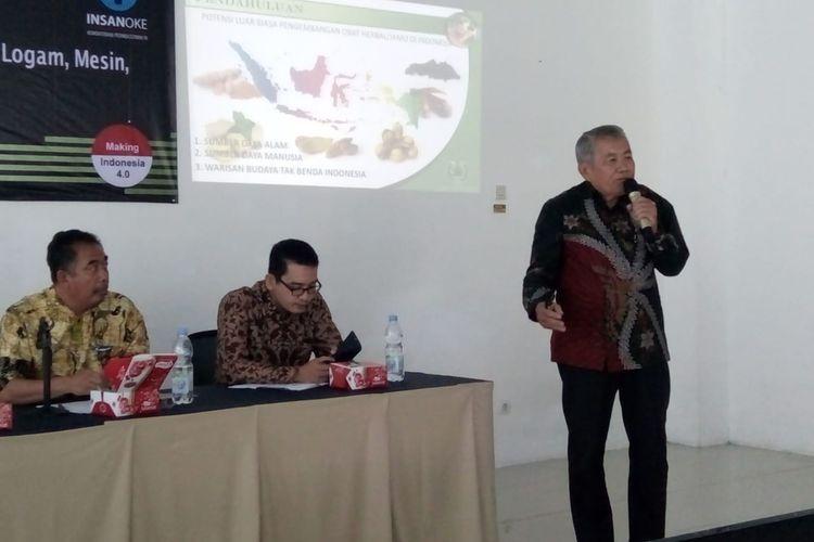 Direktur Eksekutif Dewan Pimpinan Daerah Gabungan Pengusaha Jamu dan Obat Tradisional Indonesia (GP Jamu) Jawa Tengah, Stefanus Handoyo Saputro, saat menghadiri acara workshop pengembangan jasa industri jamu dan OHT di AK Tekstil Solo.