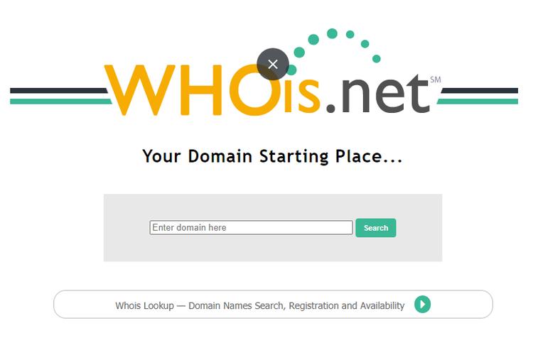 Ilustrasi Whois.net untuk mencari siapa pendaftar situs domain suatu situs web.