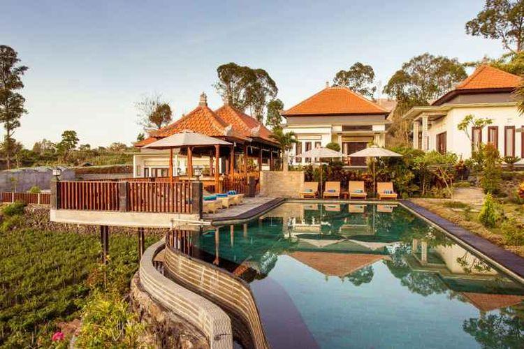 Penginapan Villa Jempana Kintamani yang terletak dekat Danau Batur, Kintamani, Bangli, Bali.