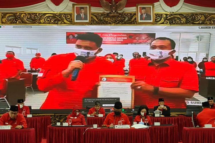 PDI Perjuangan resmi mengusung Bobby Afif Nasution dan Aulia Rahman di Pilkada Medan 2020, Selasa (11/8/2020).