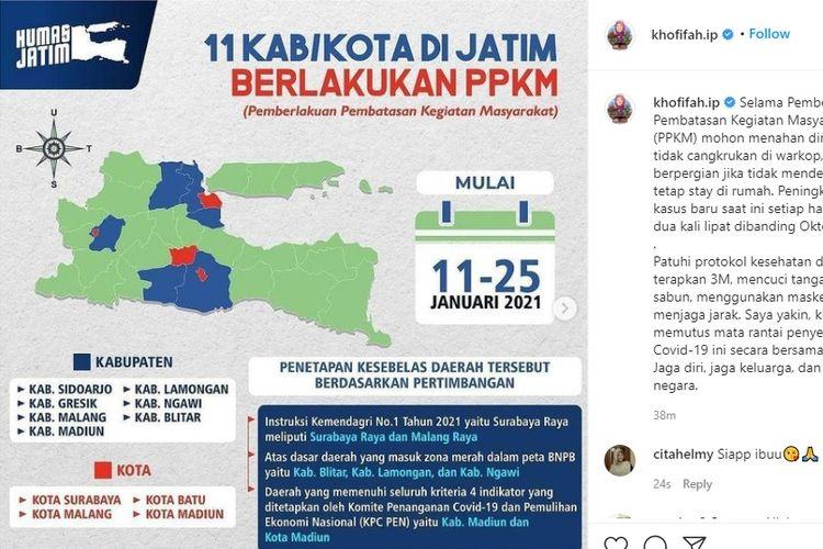 Gubernur Jawa Timur Khofifah Indar Parawansa meminta warga Jatim untuk menaati penerapan pemberlakuan pembatasan kegiatan masyarakat (PPKM).