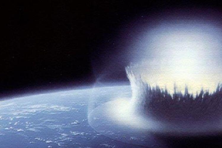 Ilustrasi tumbukan asteroid.