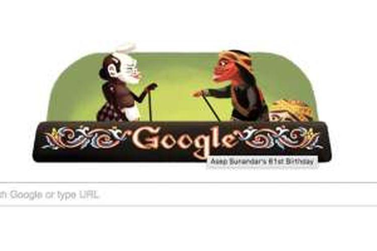 Google Doodle yang menampilkan dua tokoh pewayangan.