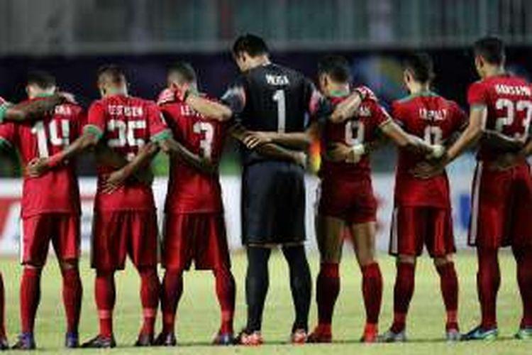 Pemain Indonesia pada semi final putaran pertama AFF Suzuki Cup 2016 di Stadion Pakansari, Kabupaten Bogor, Jawa Barat, Sabtu (3/12/2016). Indonesia memang atas Vietnam dengan skor 2-1.