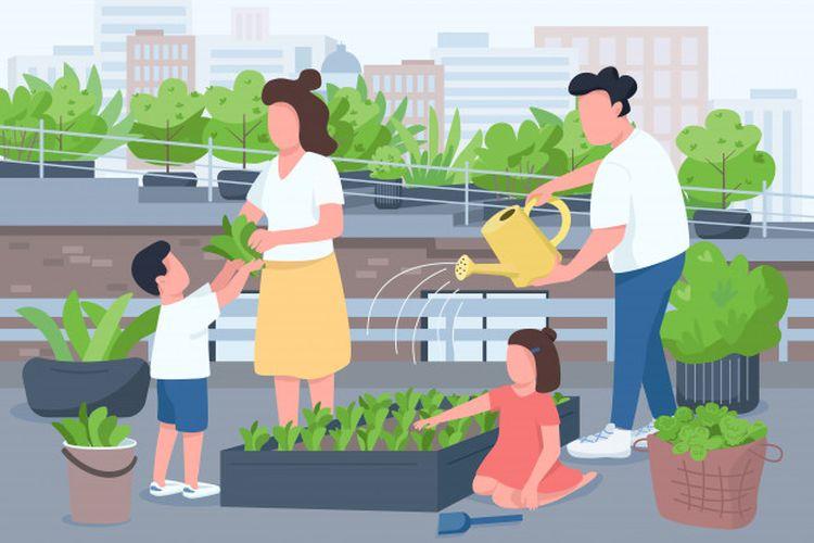 Ilustrasi keluarga berkebun. Pemanfaatan lahan kosong di sekitar rumah secara produktif.