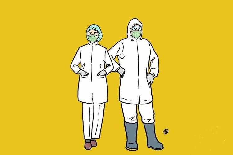 Ilustrasi tenaga medis yang bersiaga sebagai benteng terakhir pertahanan kesehatan masyarakat. Ilustrasi oleh Hari Merdeka.