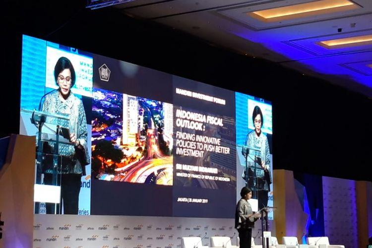 Menteri Keuangan Sri Mulyani Indrawati ketika memberikan paparan di acara Mandiri Investment Forum 2019 di Jakarta, Rabu (30/1/2019).
