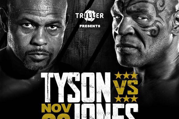 Poster pertarungan Mike Tyson vs Roy Jones Jr pada Minggu (29/11/2020) pagi hari WIB.