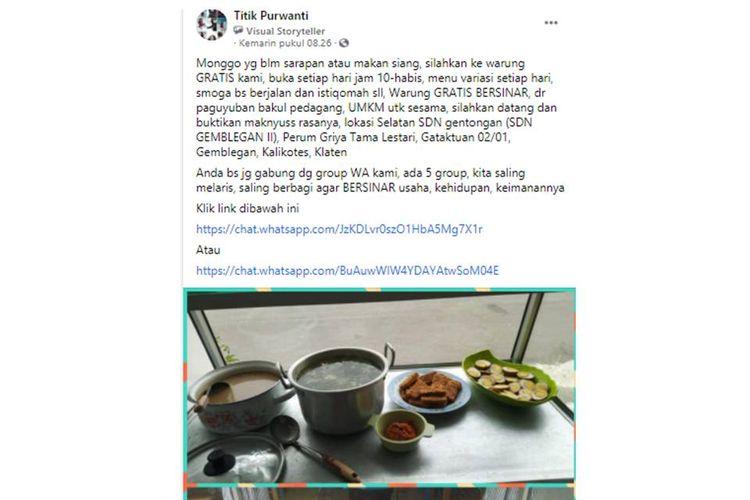 Tangkapan layar sebuah unggahan yang bernarasikan paguyuban di Klaten, Jawa Tengah mendirikan warung makan gratis yang buka setiap hari.