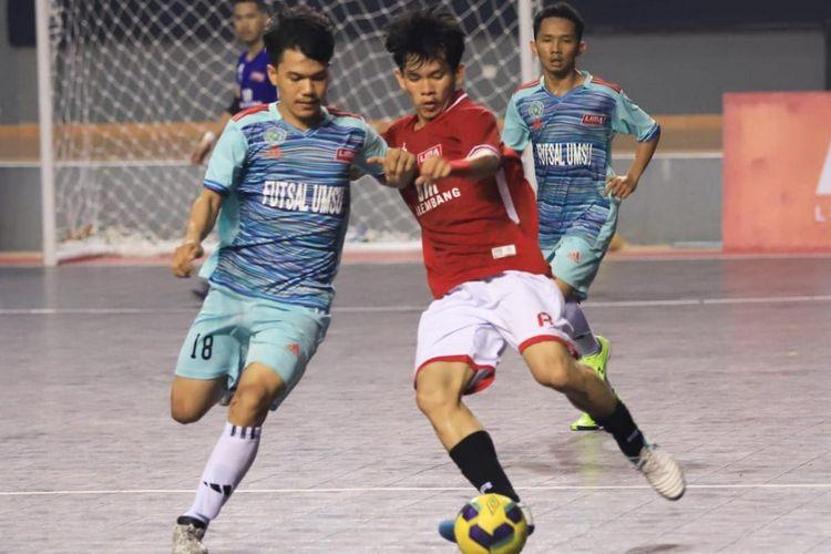 Laga futsal Liga Mahasiswa Sumatra Conference Seasons 7 di Kota Palembang. Kejuaraan diikuti 10 tim putra dan 3 tim putri mulai 13-24 Oktober 2019.