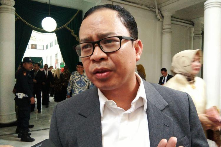 Ketua KPU Jabar Rifqi Alimubarok saat ditemui di Gedung Sate, Jalan Diponegoro, Sabtu (20/4/2019).