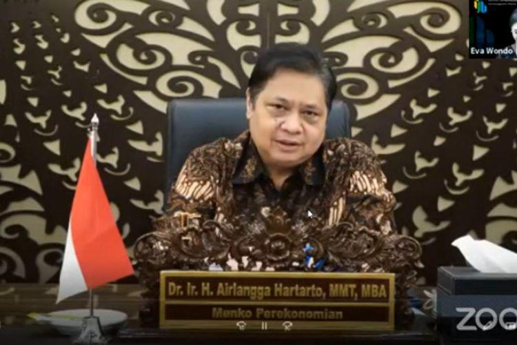 Menteri Koordinator Bidang Perekonomian Airlangga Hartarto saat membuka webminar 'Membangun Ekosistem Digital: Optimalisasi Potensi Ekonomi Digital Indonesia', yang diselenggarakan INJABAR Unpad, Jumat (23/4/2021).