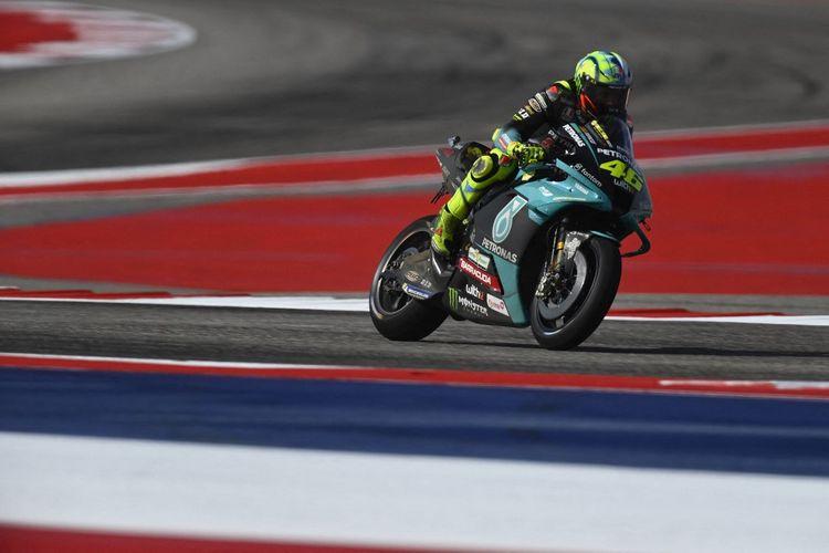 Valentino Rossi saat berlaga pada MotoGP Amerika 2021.   Mirco Lazzari gp/Getty Images/AFP (Photo by Mirco Lazzari gp / GETTY IMAGES NORTH AMERICA / Getty Images via AFP)