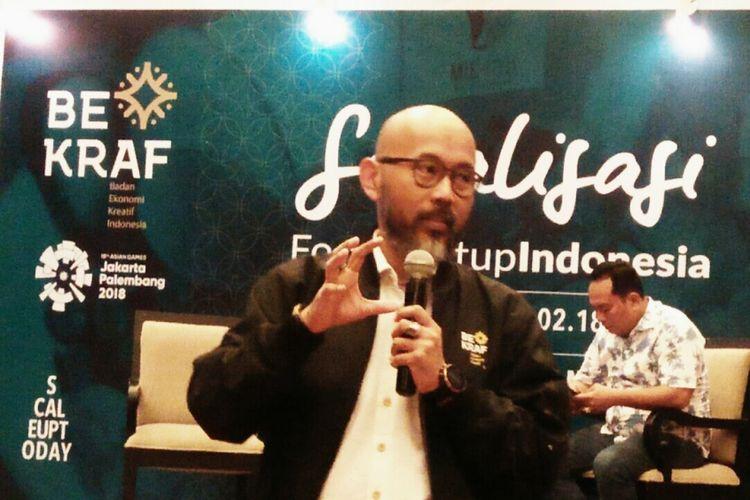 Deputi Akses Permodalan Bekraf Fadjar Hutomo saat sosialisasi FSI di Medan, Rabu (14/2/2018)