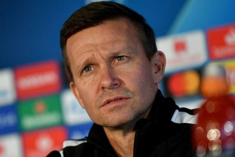 Pelatih kepala AS Salzburg Jesse Marsch memberikan konferensi pers menjelang pertandingan Liga E grup Liga Champions UEFA FC Salzburg v Liverpool di Salzburg