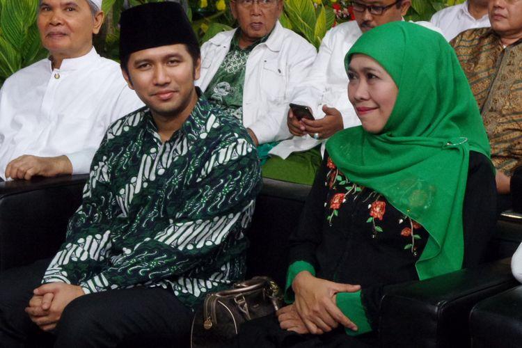 Bakal pasangan calon Gubernur-Wakil Gubernur Jawa Timur, Khofifah Indar Parawansa dan Emil Dardak menghadiri acara hari lahir PPP di kantor DPP PPP, Jakarta, Jumat (5/1/2018) malam.
