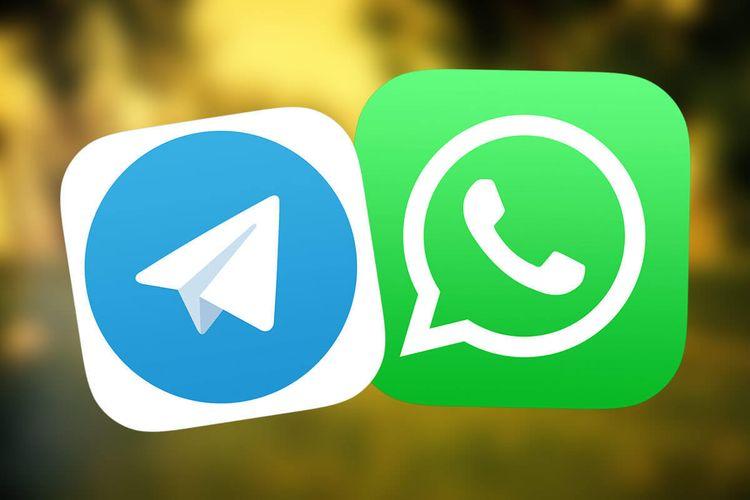 ilustrasi Telegram dan WhatsApp