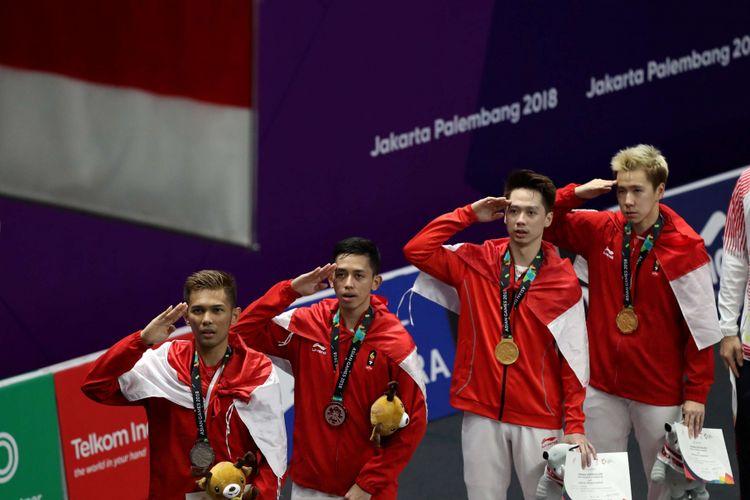 Ganda putra Indonesia, Marcus Fernaldi Gideon - Kevin Sanjaya Sukamuljo  dan ganda putra Indonesia, Fajar Alfian - Muhammad Rian Ardianto meraih medali emas dan perak pada pertandingan ganda putra Asian Games 2018 di Istora Senayan, Jakarta, Selasa (28/8/2018).